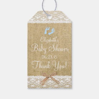 Burlap and Lace Image Blue Footprints Baby Shower Gift Tags
