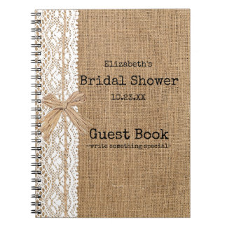 Burlap and Lace Image Bridal Shower Guest Book Spiral Notebook