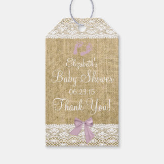 Burlap and Lace Image Lavender Bow Baby Shower Gift Tags