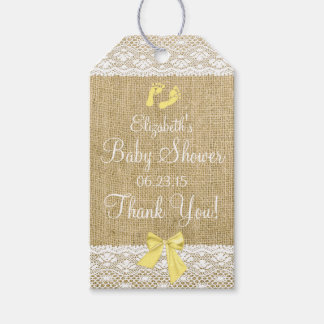 Burlap and Lace Image With Yellow Bow Gift Tags