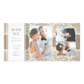 Burlap and Lace Photo Wedding Thank You Photo Cards