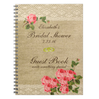 Burlap and Lace Print- Bridal Shower Guest Book- Spiral Note Books