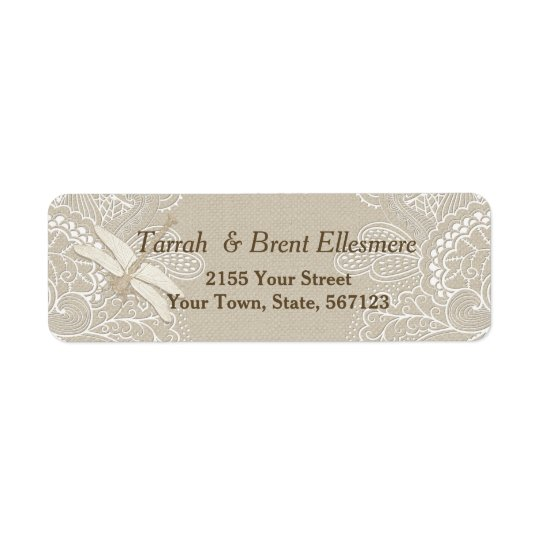Burlap and Lace Rustic - Address Label Slim