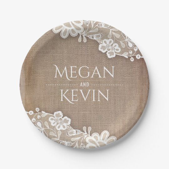 Burlap and Lace Rustic Country Wedding 7 Inch