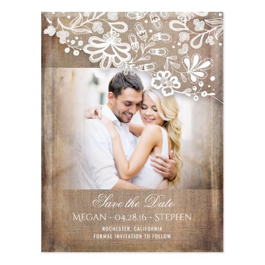 Burlap and Lace Rustic Photo Save The Date