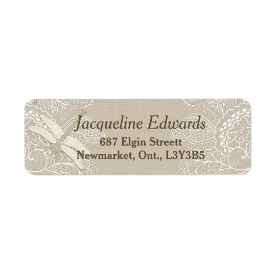 Burlap and Lace Rustic Return Address Label