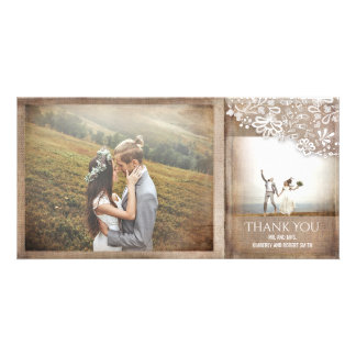 Burlap and Lace Rustic Vintage Wedding Personalised Photo Card