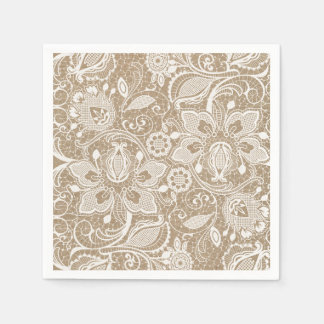 Burlap and Lace Shabby Chic Paper Napkin