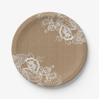 Burlap and Lace Shabby Chic Paper Plates 7 Inch Paper Plate