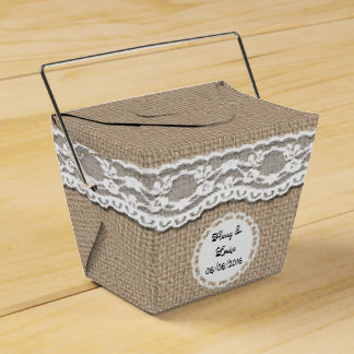 Burlap and Lace Take Away Favor Box Wedding Favour Boxes