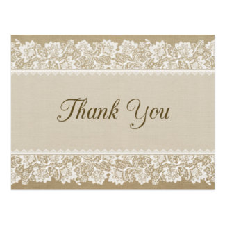 Burlap and Lace Thank You Card Postcard
