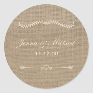 Burlap and Lace wedding envelope round seal