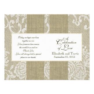 Burlap and Lace Wedding Program 21.5 Cm X 28 Cm Flyer