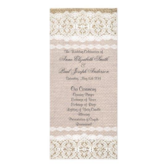 Burlap and Lace Wedding Program Rack Cards