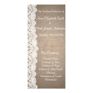 Burlap and Lace Wedding Program Full Color Rack Card