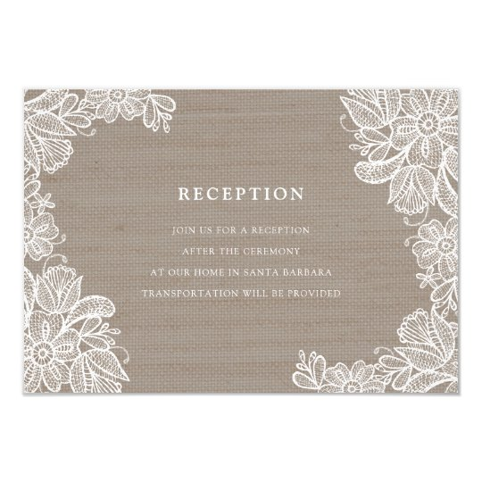 Burlap and Lace Wedding Reception Card