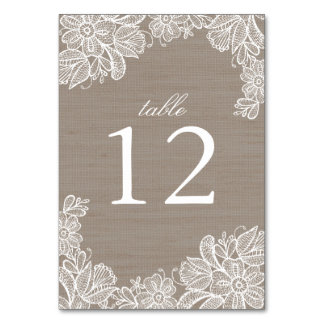 Burlap and Lace Wedding Table Number Table Card