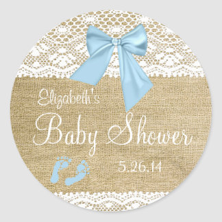 Burlap and Lace with Blue Bow Baby Shower-Favor Round Sticker