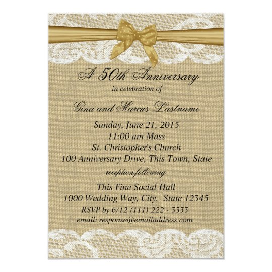 Burlap and Lace with Gold Bow 50th Anniversary