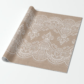 Burlap and Lace Wrapping Paper