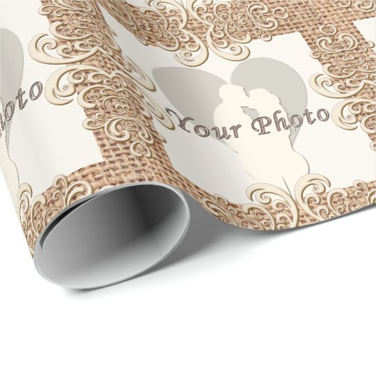 Burlap and Lace Wrapping Paper with Your PHOTO