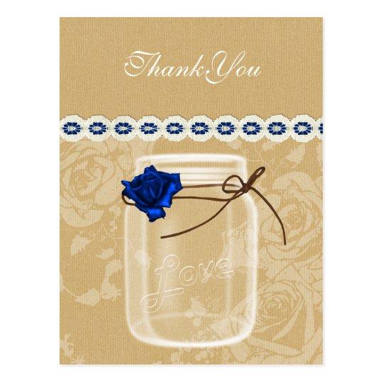 burlap and navy blue rose mason jar thank you postcard