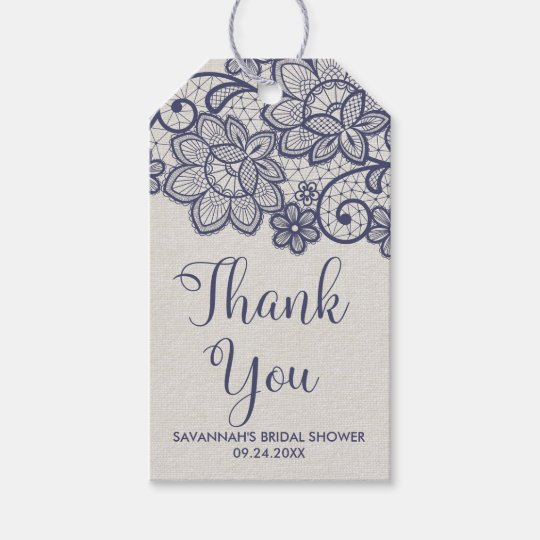 Burlap and Navy Lace Bridal Shower Thank You Gift Tags