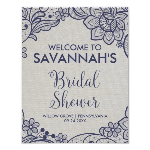 Burlap and Navy Lace Floral Bridal Shower Welcome