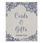 Burlap and Navy Lace | Floral Cards and Gifts Sign
