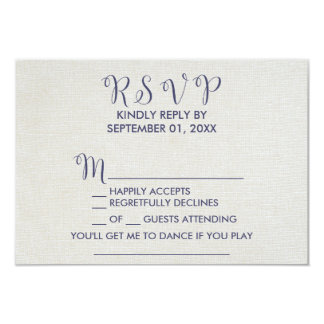 Burlap and Navy Lace | Floral Song Request RSVP Card
