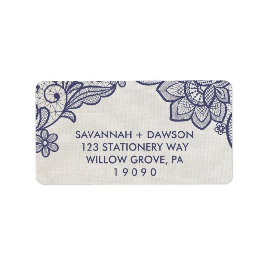 Burlap and Navy Lace | Floral Wedding Label
