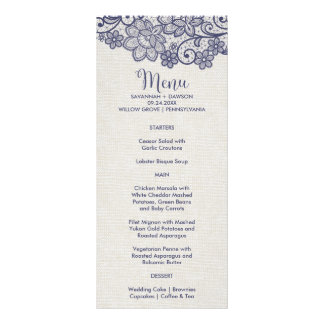 Burlap and Navy Lace | Floral Wedding Menu Card Customised Rack Card