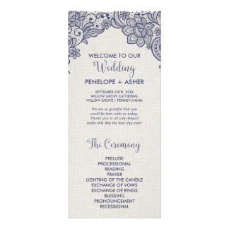 Burlap and Navy Lace | Floral Wedding Program Full Color Rack Card