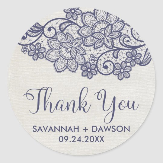"Burlap and Navy Lace ""Thank You"" Wedding Favour"