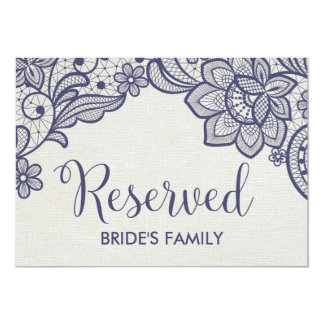 Burlap and Navy Lace Wedding Reserved Sign Card