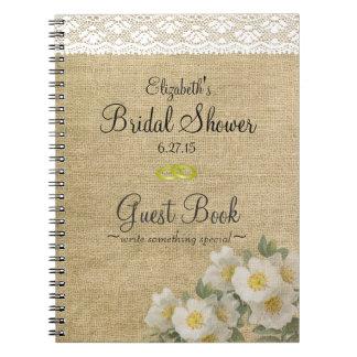 Burlap and Primrose Bridal Shower Guest Book Spiral Notebooks
