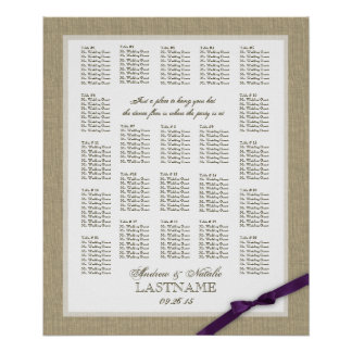 Burlap and Purple Bow Wedding Seating Chart Poster