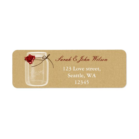 burlap and red rose mason jar return address label