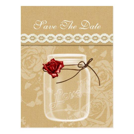 burlap and red rose mason jar save the