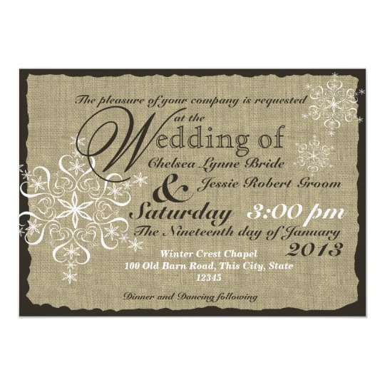 Burlap and Snowflakes Wedding 5 x 7 Card