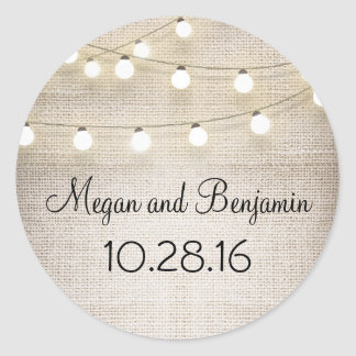 Burlap and String Lights Rustic Round Sticker