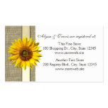 Burlap and sunflower Bridal Registry Card Pack Of Standard Business Cards