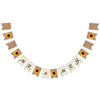 Burlap and Sunflowers Wedding Bunting
