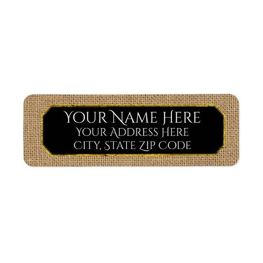 Burlap and Your Colour Text Return Address Label