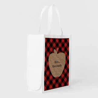 Burlap Apple Buffalo Plaid Reusable Teacher Bag