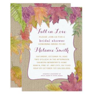 Burlap Autumn Leaf Fall Bridal Shower invite 3973
