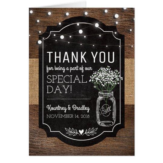 Burlap Baby Breath Wooden Wedding | Thank You