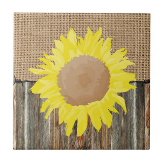 Burlap Barnwood Barbed Wire And SunFlower Small Square Tile