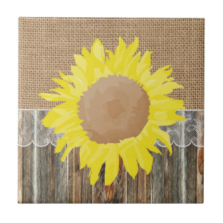 Burlap Barnwood Lace And Sunflower Small Square Tile