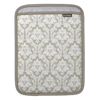 Burlap Beige Damask Sleeves For iPads